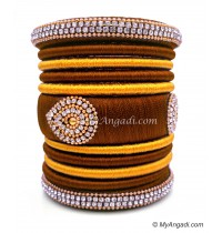 Kakki with Gold Combination Grand Kada Bridal Silk Thread Bangle Set
