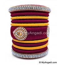 Maroon with Gold Combination Grand Kada Bridal Silk Thread Bangle Set