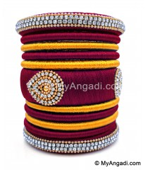 Maroon with Gold Combination Grand Kada Bridal Silk Thread Bangle Set
