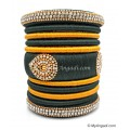 Grey with Gold Combination Grand Kada Bridal Silk Thread Bangle Set