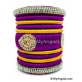 Purple with Gold Combination Grand Kada Bridal Silk Thread Bangle Set