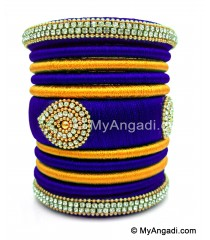 Royal Blue with Gold Combination Grand Kada Bridal Silk Thread Bangle Set