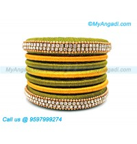 Olive Green Colour Silk Thread Bangles