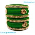 Green Colour Silk Thread Bangles