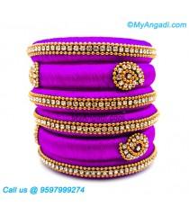 Purple Colour Silk Thread Bangles
