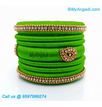 Lime Green Silk Thread Bangles