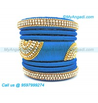 Blue Colour Silk Thread Bangles