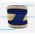 Dark Blue Colour Silk Thread Bangles