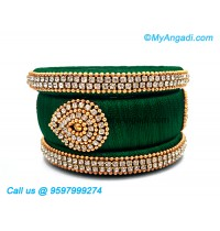 Dark Green Silk Thread Bangles