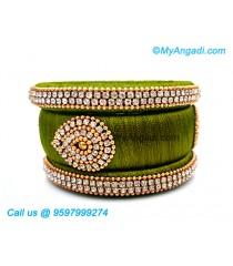 Olive Green Colour Silk Thread Bangles