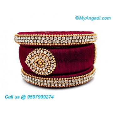 Maroon Colour Silk Thread Bangles