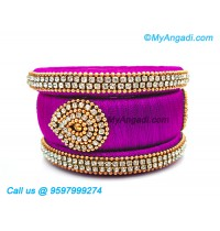 Purple Colour Silk Thread Bangles