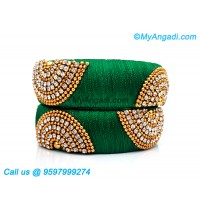 Green Colour Silk Thread Bangles