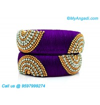 Violet Colour Silk Thread Bangles