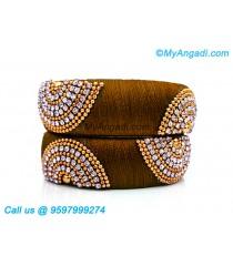 Kakki Colour Silk Thread Bangles