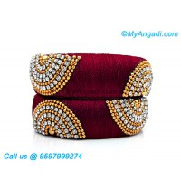 Maroon Colour Silk Thread Bangles