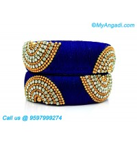Royal Blue Colour Silk Thread Bangles