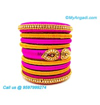 Pink Colour Silk Thread Bangles