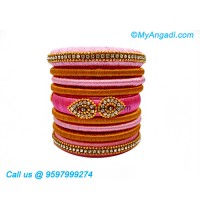 Rose Colour Silk Thread Bangles
