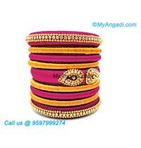 Majenta Colour Silk Thread Bangles
