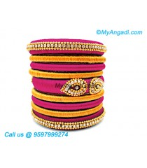 Majenta Colour Silk Thread Bangles