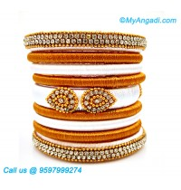 White Colour Silk Thread Bangles