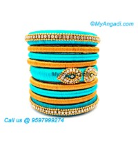 Turquoise Blue Colour Silk Thread Bangles