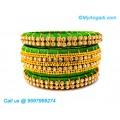 Green Colour Silk Thread Bangles with Gold Jari