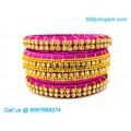 Pink Colour Silk Thread Bangles with Gold Jari
