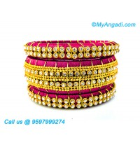 Majenta Colour Silk Thread Bangles with Gold Jari