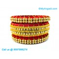 Red Colour Silk Thread Bangles with Gold Jari