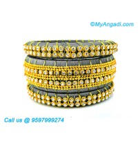 Grey Colour Silk Thread Bangles with Gold Jari