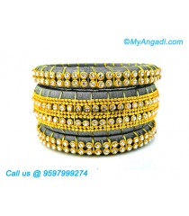Grey Colour Silk Thread Bangles with Gold Jari