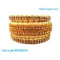 Ivory Colour Silk Thread Bangles with Gold Jari