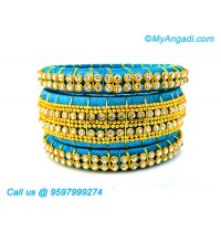 Blue Colour Silk Thread Bangles with Gold Jari