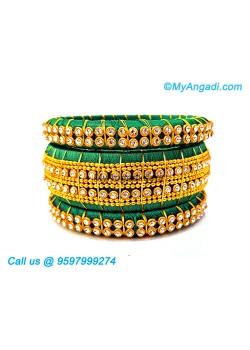 Teal Green Colour Silk Thread Bangles with Gold Jari
