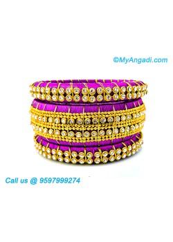 Purple Colour Silk Thread Bangles with Gold Jari