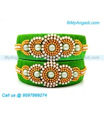 Lime Green Silk Thread Bangles with Pearl