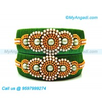 Dark Green Silk Thread Bangles with Pearl