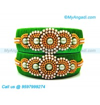 Green Colour Silk Thread Bangles with Pearl