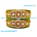 Olive Green Colour Silk Thread Bangles with Pearl