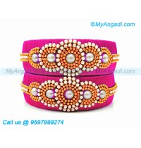 Pink Colour Silk Thread Bangles with Pearl