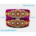 Majenta Colour Silk Thread Bangles with Pearl