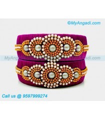 Majenta Colour Silk Thread Bangles with Pearl