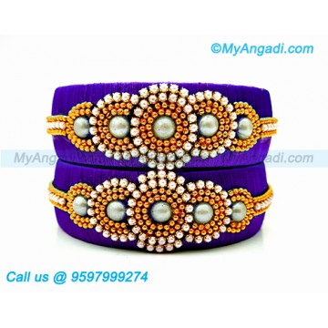 Violet Colour Silk Thread Bangles with Pearl