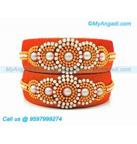 Orange Colour Silk Thread Bangles with Pearl