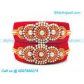 Red Colour Silk Thread Bangles with Pearl