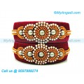 Maroon Colour Silk Thread Bangles with Pearl