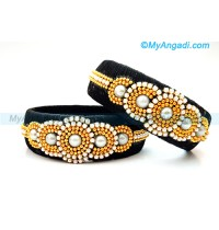 Black colour Silk Thread Bangles with Pearl