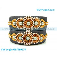 Grey Colour Silk Thread Bangles with Pearl